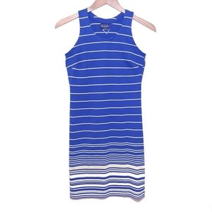 Columbia Blue Yellow Stripe Sleeveless Shift Dress